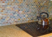 Oslate mosaic backsplash